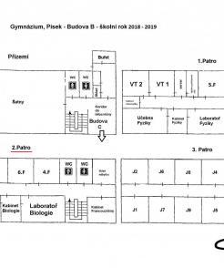 Rozmístění tříd pro školní rok 2018/2019 - budova B